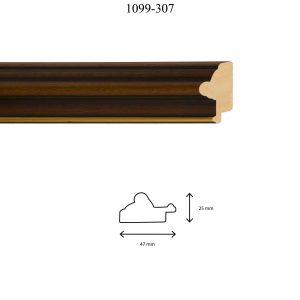 Moldura Lisa de Perfil 1099, en acabado NOGAL F. ORO. Tamaño de la moldura 47mm x 25mm.