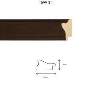 Moldura Lisa de Perfil 1099, en acabado NOGAL. Tamaño de la moldura 47mm x 25mm.