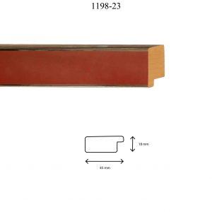 Moldura Lisa de Perfil 1198, en acabado PLATA ROSA. Tamaño de la moldura 45mm x 18mm.