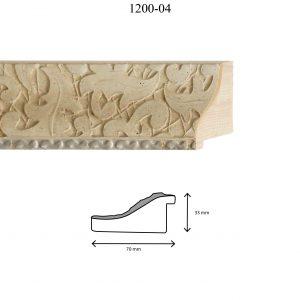 Moldura Grabada de Perfil 1200, en acabado BLANCO F. PLATA. Tamaño de la moldura 70mm x 33mm.
