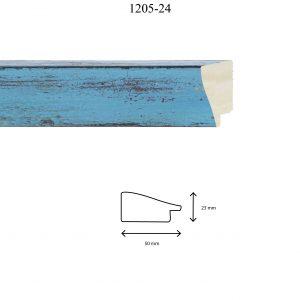 Moldura Lisa de Perfil 1205, en acabado CELESTE. Tamaño de la moldura 50mm x 23mm.