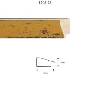 Moldura Lisa de Perfil 1205, en acabado AMARILLO. Tamaño de la moldura 50mm x 23mm.