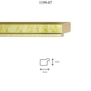 Moldura Lisa de perfil 1199, en acabado VERDE PLATA. Tamaño de la moldura 24m x 18mm.