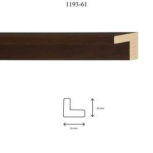 Moldura Lisa de perfil 1193, en acabado NOGAL. Tamaño de la moldura 35m x 30mm.