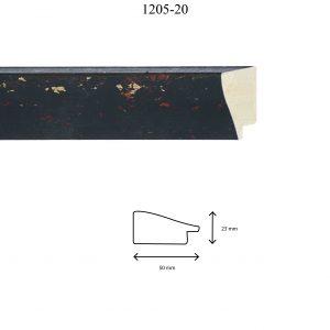 Moldura Lisa de Perfil 1205, en acabado NEGRO. Tamaño de la moldura 50mm x 23mm.