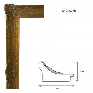 Marcos de Estilo Moldura M-16-20, en acabado ORO. Tamaño de la moldura 93mm x 50mm.