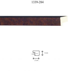 Moldura Lisa de perfil 1339, en acabado ÁLAMO MATE. Tamaño de la moldura 20mm x 15mm. Rebaje 10mm x 6mm.