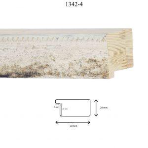 Moldura Grabada de Perfil 1342, en acabado RÚSTICO BLANCO. Tamaño de la moldura 58mm x 28mm. Rebaje de 20mm x 7mm.