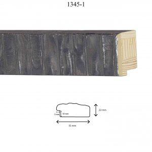 Moldura Grabada de Perfil 1345, en acabado NEGRO. Tamaño de la moldura 55mm x 22mm. Rebaje de 10mm x 5mm.