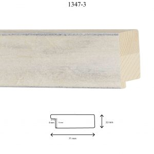 Moldura Lisa de Perfil 1347, en acabado BLANCO ANTIGUO. Tamaño de la moldura 71mm x 22mm. Rebaje de 15mm x 8mm.