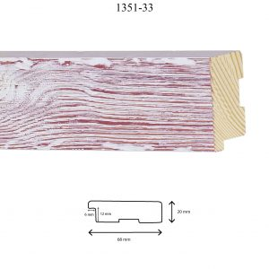 Moldura Grabada de Perfil 1351, en acabado PINO LAVADO ROJO. Tamaño de la moldura 68mm x 20mm. Rebaje de 12mm x 6mm.