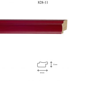 Moldura Lisa de perfil 828, en acabado ROJO. Tamaño de la moldura 30mm x 15mm.