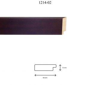 Moldura Lisa de Perfil 1214, en acabado NOGAL. Tamaño de la moldura 60mm x 15mm.