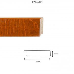 Moldura Lisa de Perfil 1216, en acabado ABEDUL CEREZO. Tamaño de la moldura 90mm x 19mm.