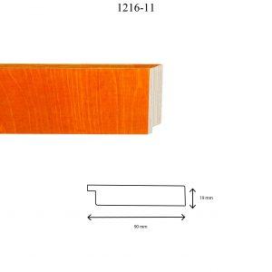 Moldura Lisa de Perfil 1216, en acabado ABEDUL NARANJA. Tamaño de la moldura 90mm x 19mm.