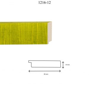 Moldura Lisa de Perfil 1216, en acabado ABEDUL VERDE CLARO. Tamaño de la moldura 90mm x 19mm.