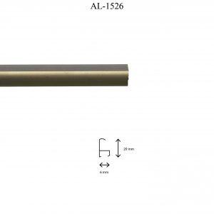Moldura de Aluminio, en acabado CHAMPAGNE. Tamaño de la moldura 20mm x 6mm.