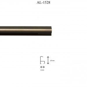 Moldura de Aluminio, en acabado BRONCE. Tamaño de la moldura 20mm x 6mm.