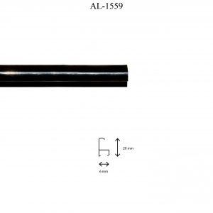 Moldura de Aluminio, en acabado NEGRO. Tamaño de la moldura 20mm x 6mm.