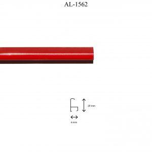 Moldura de Aluminio, en acabado ROJO. Tamaño de la moldura 20mm x 6mm.