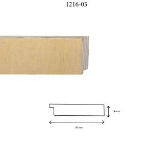 Moldura Lisa de Perfil 1216, en acabado ABEDUL NATURAL. Tamaño de la moldura 90mm x 19mm.