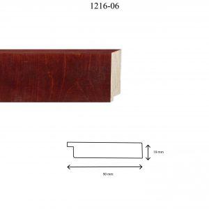 Moldura Lisa de Perfil 1216, en acabado ABEDUL CAOBA. Tamaño de la moldura 90mm x 19mm.