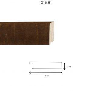 Moldura Lisa de Perfil 1216, en acabado ABEDUL NOGAL. Tamaño de la moldura 90mm x 19mm.