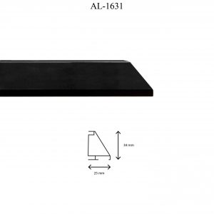 Moldura de Aluminio, en acabado NEGRO. Tamaño de la moldura 34mm x 25mm.