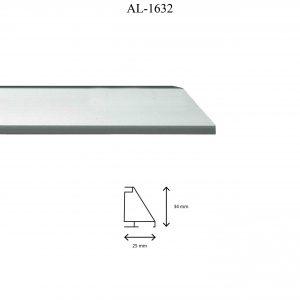 Moldura de Aluminio, en acabado PLATA. Tamaño de la moldura 34mm x 25mm.