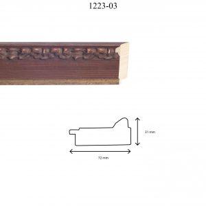 Moldura Grabada de Perfil 1223, en acabado NOGAL FILO ORO. Tamaño de la moldura 72mm x 31mm.