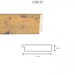 Moldura Lisa de Perfil 1226, en acabado AMARILLO. Tamaño de la moldura 95mm x 20mm.