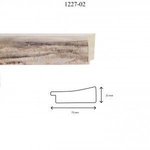 Moldura Lisa de Perfil 1227, en acabado MARRÓN. Tamaño de la moldura 73mm x 25mm.
