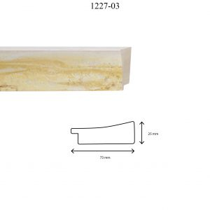 Moldura Lisa de Perfil 1227, en acabado AMARILLO. Tamaño de la moldura 73mm x 25mm.