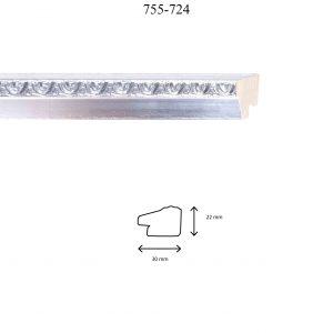 Moldura Grabada de perfil 755, en acabado PLATA. Tamaño de la moldura 30mm x 22mm.