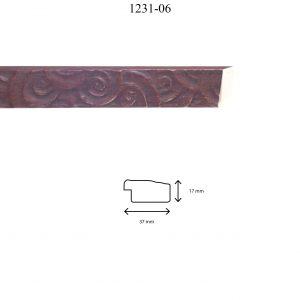 Moldura Grabada de perfil 1231, en acabado ROJO. Tamaño de la moldura 37mm x 17mm.