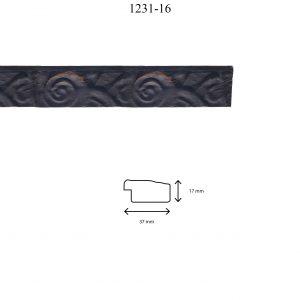 Moldura Grabada de perfil 1231, en acabado NEGRO. Tamaño de la moldura 37mm x 17mm.