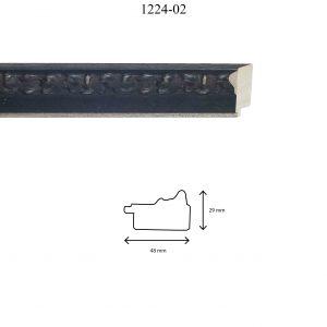 Moldura Grabada de Perfil 1202, en acabado NEGRO F. PLATA. Tamaño de la moldura 48mm x 29mm.