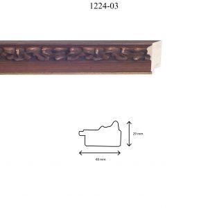 Moldura Grabada de Perfil 1202, en acabado NOGAL F. ORO. Tamaño de la moldura 48mm x 29mm.