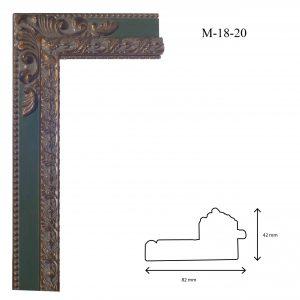 Marcos de Estilo Moldura M-18-20, en acabado VERDE ORO. Tamaño de la moldura 82mm x 42mm.