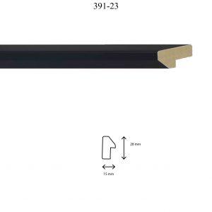 Moldura Lisa de perfil 391, en acabado NEGRO. Tamaño de la moldura 15mm x 28mm.
