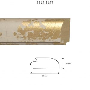 Moldura Lisa de Perfil 1195, en acabado BLANCO ORO. Tamaño de la moldura 77mm x 30mm.