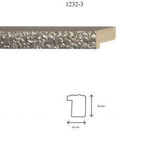 Moldura Grabada de perfil 1232, en acabado PLATA GRIS. Tamaño de la moldura 30mm x 36mm.