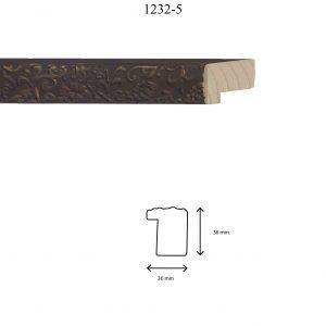 Moldura Grabada de perfil 1232, en acabado SOMBRA NOGAL. Tamaño de la moldura 30mm x 36mm.