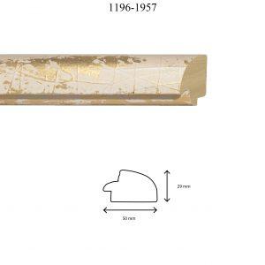 Moldura Lisa de Perfil 1196, en acabado BLANCO ORO. Tamaño de la moldura 60mm x 30mm.
