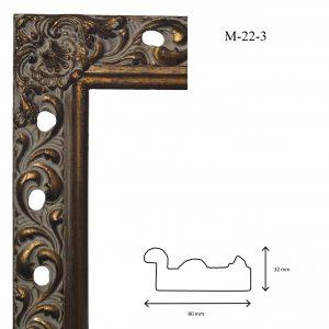 Marcos de Estilo Moldura M-22-3, en acabado ORO BLANCO. Tamaño de la moldura 80mm x 32mm.