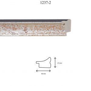 Moldura Lisa de perfil 1237, en acabado PLATA. Tamaño de la moldura 40mm x 27mm.