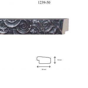 Moldura Grabada de perfil 1239, en acabado NEGRO PLATA. Tamaño de la moldura 38mm x 19mm.