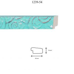 Moldura Grabada de perfil 1239, en acabado VERDE CLARO PLATA. Tamaño de la moldura 38mm x 19mm.