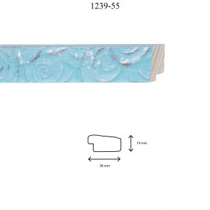 Moldura Grabada de perfil 1239, en acabado CELESTE PLATA. Tamaño de la moldura 38mm x 19mm.