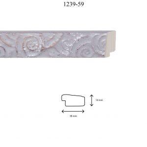 Moldura Grabada de perfil 1239, en acabado GRIS PLATA. Tamaño de la moldura 38mm x 19mm.